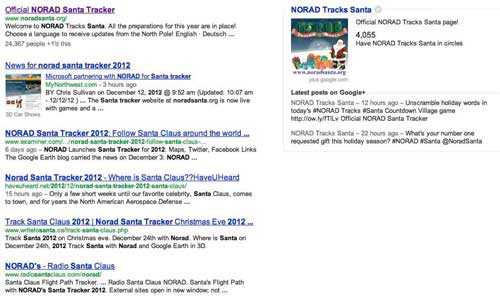 NORAD Santa Tracker in search engine result pages
