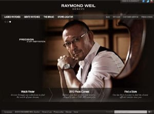 Raymond Weil site, targeting affluent visitors. Image from website and presentation by Charlie Claxton